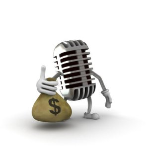 Microphone with money bag | photo by Talaj @ iStockphoto